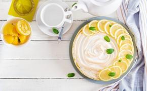 Картинка лимон, чай, пирог, крем, дольки, творог, безе, лимонный, Timolina