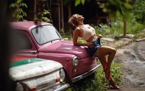 Картинка авто, девушка, машины, поза, ножки, Запорожец, ЗАЗ, Сергей Сорокин