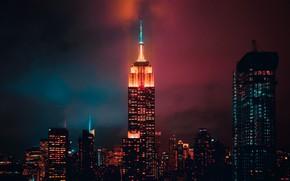 Картинка Нью-Йорк, USA, ночной город, Манхэттен, New York, Empire State Building, Эмпайр Стейт Билдинг, night city, …