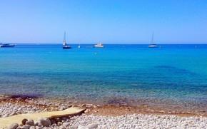 Картинка море, пляж, берег, яхты