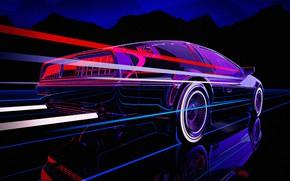 Обои Авто, Музыка, Машина, DeLorean DMC-12, 80s, DeLorean, DMC-12, Neon, 80's, Synth, Retrowave, Synthwave, New Retro ...