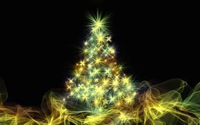 Картинка звезды, свет, линии, абстракция, сияние, вектор, огоньки, Новый год, ёлка, черный фон, ёлочка, гирлянды, нарядная, …