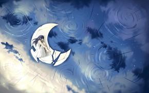 Картинка грусть, вода, девушка, дождь, спит, полумесяц