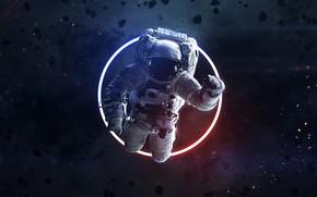 Картинка Космос, Астронавт, Космонавт, Кольцо, Арт, Space, Art, Neon, Астероиды, Asteroids, Пространство, Ring, Cosmos, Astronaut, Vadim …