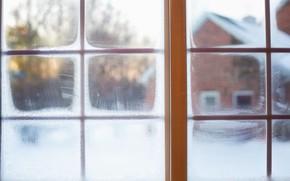 Картинка зима, снег, окно, winter, snow, window, frost