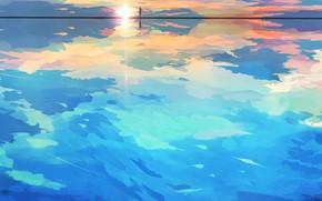 Картинка море, небо, девушка, солнце, горизонт