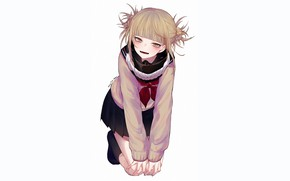 Картинка взгляд, девушка, поза, улыбка, белый фон, Boku no Hero Academia, Моя геройская акадеимя, Toga Himiko