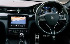Картинка Maserati, Quattroporte, руль, салон, 2018, GTS, AU-spec, GranSport, Nerissimo Edition