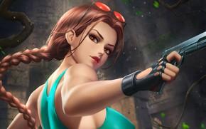 Картинка девушка, пистолет, Tomb Raider, взгяд, Lara Croft
