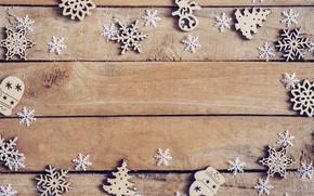 Картинка зима, снежинки, дерево, доски, Новый Год, new year, wood, winter, background, snowflakes, decoration