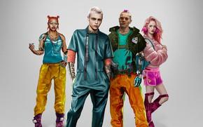 Картинка стиль, фон, девушки, парни, Cyberpunk 2077, Киберпанк 2077