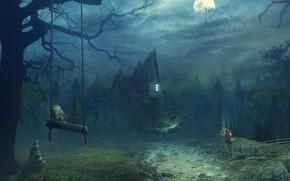 Картинка ночь, сова, луна, домик, летучие мыши, сказочный лес, девочка в красной накидке