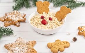 Картинка ветки, елка, печенье, тарелка, Новый год, Christmas, выпечка, New Year, мюсли