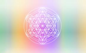 Картинка круг, минимализм, colorful, minimal, геометрия, фигуры, sacred, spiritual, сакральная геометрия, sacred geometry, куб метатрона