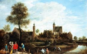Картинка пейзаж, картина, Давид Тенирс Младший, David Teniers, Вид на Хет Стерксхоф у Артверпена