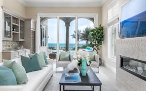 Картинка дизайн, диван, подушки, камин, орхидея, гостиная, студия