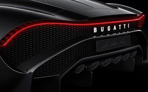 Картинка Bugatti, вид сзади, гиперкар, 2019, La Voiture Noire