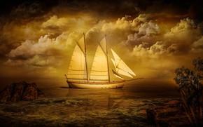 Картинка море, небо, облака, деревья, пейзаж, закат, тучи, природа, камни, рендеринг, берег, корабль, паруса, водоем, теплые …
