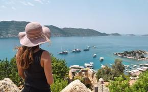 Картинка city, beach, sea, ocean, landscape, hat, ship