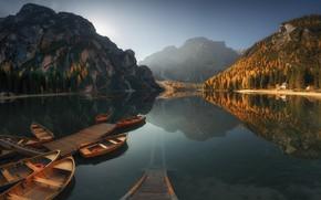 Картинка вода, горы, природа, Лодки, Краси Матаров