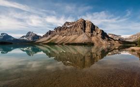 Картинка горы, озеро, отражение, прозрачная вода