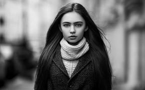 Картинка black & white, girl, long hair, photo, photographer, monochrome, model, bokeh, lips, coat, brunette, b&w, …