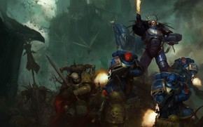 Обои space marine, Ultramarines, Warhammer 40 000, Death Guard, primarch, chaos space marines, Roboute Guilliman