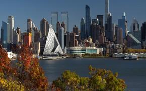 Картинка city, USA, river, sky, trees, water, New York, Manhattan, NYC, park, New York City, buildings, …