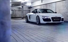 Обои Audi R8, AUDI R8, SPIDER, IBIS WHITE