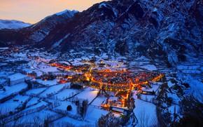 Картинка горы, огни, панорама, Испания, деревня Бенаске