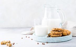 Картинка стакан, молоко, печенье, кувшин, поднос, овсяное, Iryna Melnyk