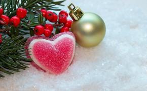 Картинка зима, снег, ягоды, сердце, новый год, шар, рождество, berry, christmas, heart, winter, snow, сладкое, sweet, …