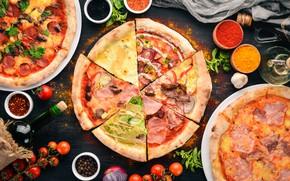 Картинка вино, сыр, специи, базилик, помидоры-черри, пиццы
