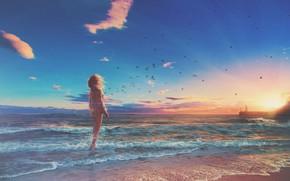 Картинка море, волны, пляж, девушка, птицы, маяк, горизонт, waves, girl, beach, sea, sunset, закат солнца, birds, …