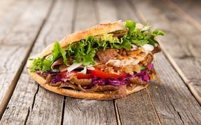 Картинка мясо, бутерброд, помидоры, салат