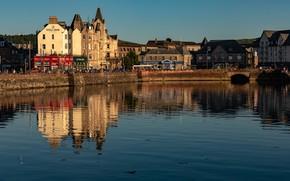 Картинка небо, вода, солнце, отражение, река, дома, Шотландия, Oban