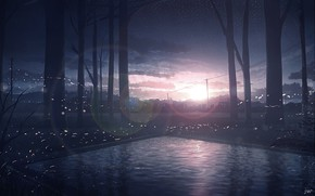 Картинка вода, закат, природа, город