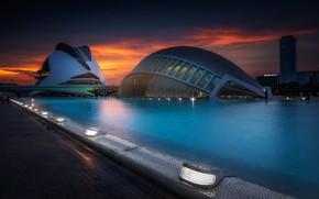 Картинка огни, вечер, Испания, Валенсия