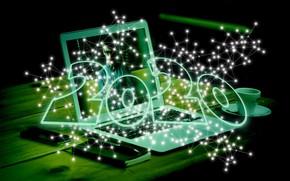 Картинка стол, чашка, Новый год, блокнот, ноутбук, смартфон, 2020, наступает