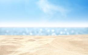 Картинка песок, море, пляж, лето, небо, вода, макро, пейзаж, природа, тепло, океан, побережье, жара, отпуск, каникулы, …
