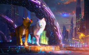 Картинка огни, животные, небоскрёбы, город, SUNSET