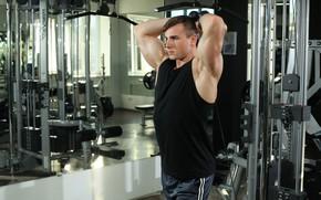 Картинка взгляд, поза, фитнес, muscle, мышцы, атлет, тренажеры, бицепс, тренажерный зал, fitness, gym, бодибилдер, training, Gym, …