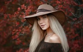 Картинка взгляд, Девушка, шляпа, Альберт Лесной, Дарья Горщарук
