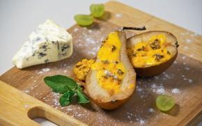 Картинка сыр, виноград, груша, мята