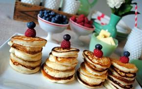Картинка ягоды, завтрак, выпечка, оладьи