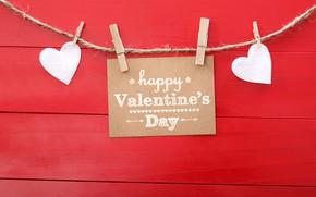 Картинка настроение, праздник, надпись, табличка, доски, сердца, сердечки, белые, День святого Валентина, красный фон, верёвка, прищепки, …