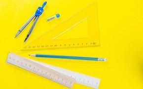 Картинка карандаш, треугольник, циркуль, канцтовары, линейки