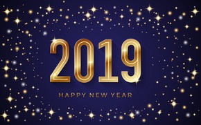 Картинка фон, золото, Новый Год, цифры, golden, New Year, Happy, sparkle, 2019