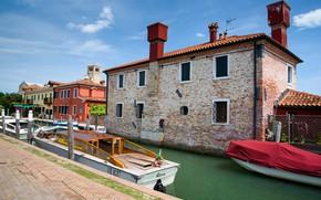 Картинка лодка, дома, Италия, Венеция, канал, остров Торчелло