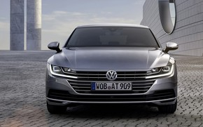 Картинка Volkswagen, вид спереди, 2018, Elegance, 2017, Arteon, серо-серебристый